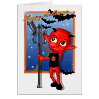 Niedlicher Teufel und Schläger Halloweens Karte