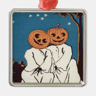Niedlicher Umarmungs-Kürbis-Jack O Laternen-Geist Quadratisches Silberfarbenes Ornament