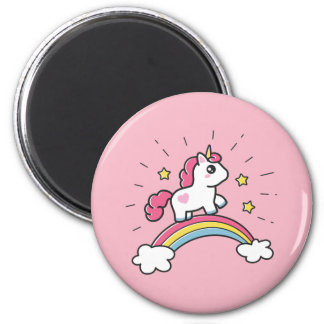 Niedlicher Unicorn auf einem Regenbogen-Entwurf Runder Magnet 5,1 Cm