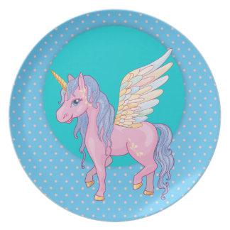 Niedlicher Unicorn mit Regenbogen wings Teller