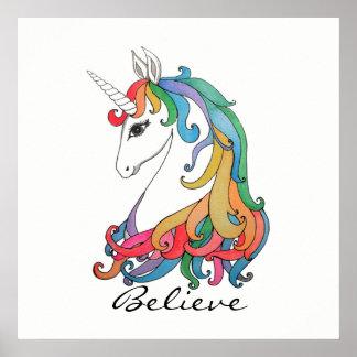 Niedlicher Unicorn Regenbogen des Watercolor Poster