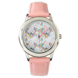 Niedlicher UnicornWatercolor Armbanduhr