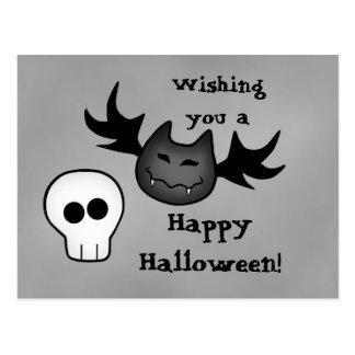 Niedlicher Vampireschläger und Schädel glückliches Postkarte