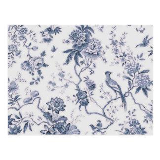 Niedlicher Vintager blauer und weißer Vogel mit Postkarte