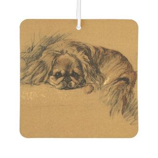 Niedlicher Vintager Pekingese Welpe, Welpen-Hund Autolufterfrischer