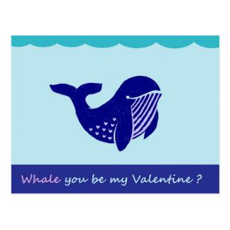 Niedlicher Wal-lustige Postkarte des Valentines
