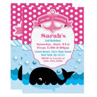 Niedlicher Wal, rosa 12,7 X 17,8 Cm Einladungskarte
