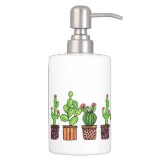 Niedlicher Watercolor-Kaktus in den Töpfen Badezimmer-Set