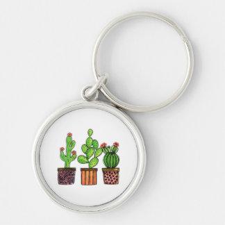 Niedlicher Watercolor-Kaktus in den Töpfen Schlüsselanhänger