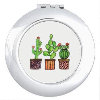 Niedlicher Watercolor-Kaktus in den Töpfen Schminkspiegel