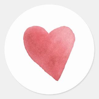 Niedlicher Watercolor-roter Herz-Minimalist Runder Aufkleber