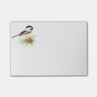 Niedlicher Watercolorchickadee-Vogel-Kiefern-Baum Post-it Klebezettel