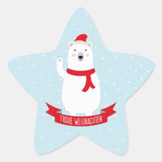 """Niedlicher Weihnachts Eisbär """"Frohe Weihnachten"""" Stern-Aufkleber"""