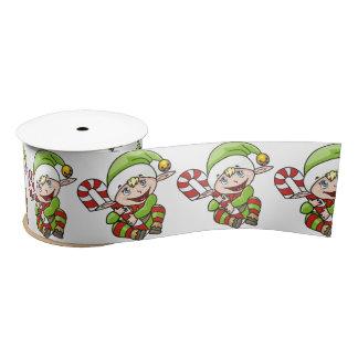 Niedlicher Weihnachtself mit Zuckerstange Satinband