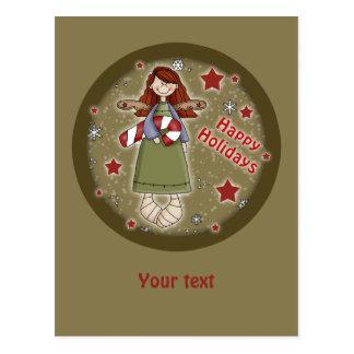 Niedlicher Weihnachtsengel mit Zuckerstange Postkarte