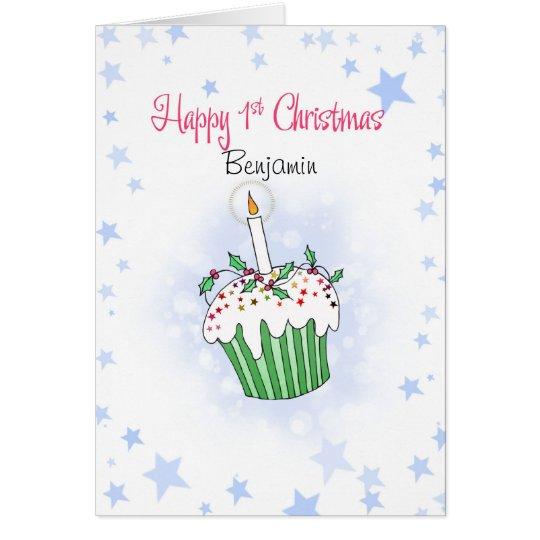 Niedlicher Weihnachtskleiner kuchen für das erste Grußkarte