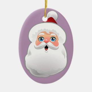 Niedlicher Weihnachtsmann-Cartoon Ovales Keramik Ornament