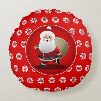 Niedlicher Weihnachtsmann-Cartoon Rundes Kissen