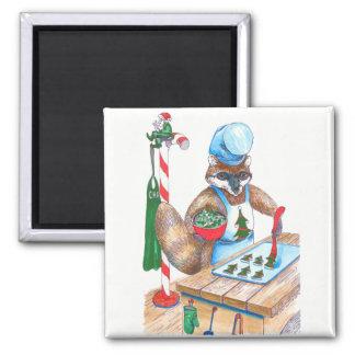 Niedlicher Weihnachtsraccoon-kulinarischer Koch Quadratischer Magnet
