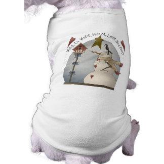 Niedlicher Weihnachtssnowman-Hundeshirt Ärmelfreies Hunde-Shirt