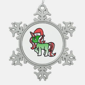 Niedlicher WeihnachtsUnicorn Schneeflocken Zinn-Ornament