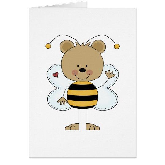 niedlicher wellenartig bewegender Hummelbienenbär Grußkarte