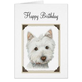 Niedlicher Westie Hund mit heftigen Papierkanten Karte