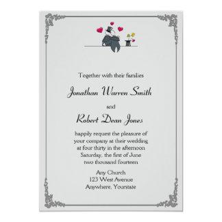 Niedlicher zwei Bräutigam-Cartoon-homosexuelle 12,7 X 17,8 Cm Einladungskarte
