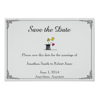 Niedlicher zwei Bräutigam-Cartoon homosexuelles 8,9 X 12,7 Cm Einladungskarte