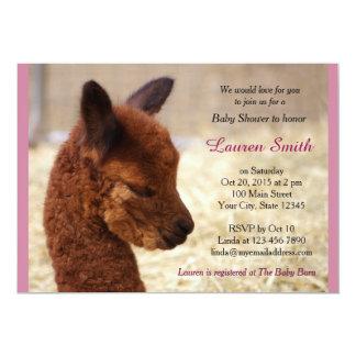 Niedliches Alpaka-Baby-Duschen-Einladungs-Rosa 12,7 X 17,8 Cm Einladungskarte
