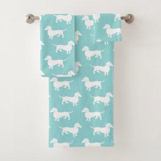 Niedliches Aqua-Dackel-Muster-kundengerechte Farbe Badhandtuch Set