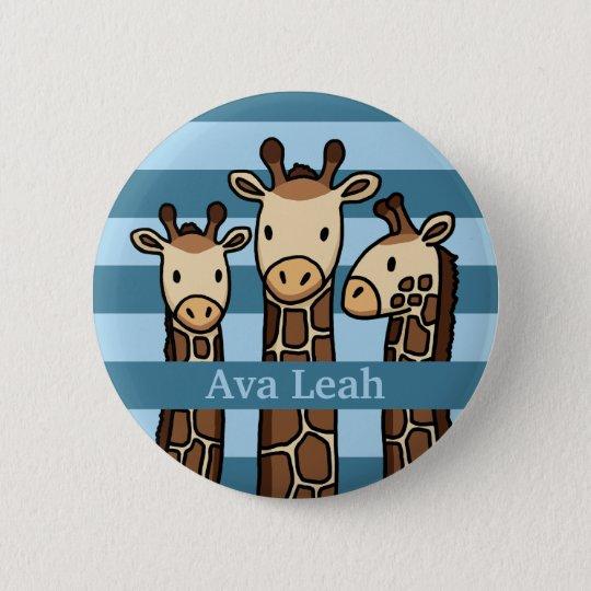 Niedliches Baby-Giraffen-Trio, addieren den Namen Runder Button 5,1 Cm