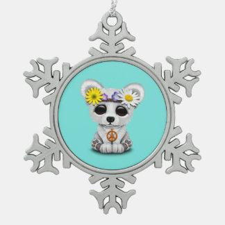 Niedliches Baby-polarer BärenjungesHippie Schneeflocken Zinn-Ornament