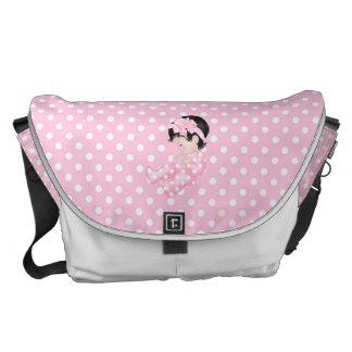 Niedliches Baby-Polka-Punkt-Rosa-weiße Windel-Wind Kurier Taschen