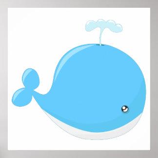 Niedliches Babywal kawaii Cartoon-Kinderzimmer Poster