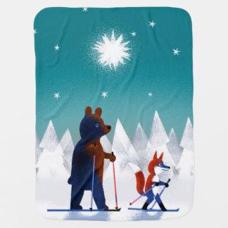 Niedliches Bärn- und Fox-Skifahren unter Sternen Baby-Decken