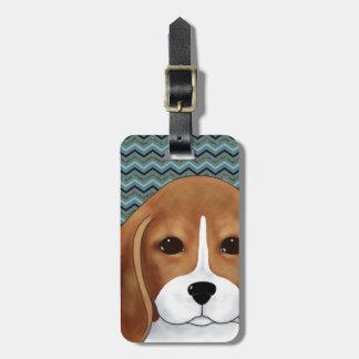 Niedliches Beagle-Welpen-HundeZickzack blaues Kofferanhänger
