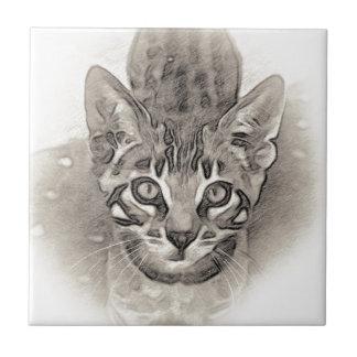 Niedliches bengalisches Kätzchen-Zeichnen Keramikfliese