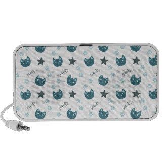 Niedliches blaues Kittymuster Notebook Speaker