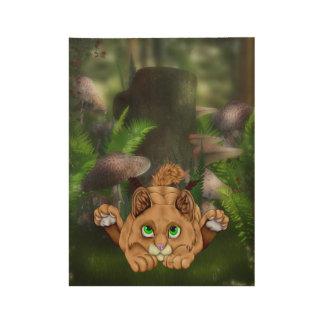 Niedliches Bobcat-Kätzchen Holzposter
