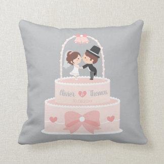 Niedliches Braut-und Bräutigam-rosa Kissen