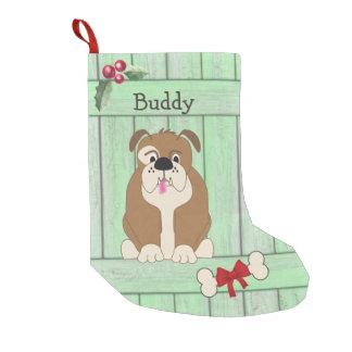 Niedliches Bulldoggen-Hundegrün-hölzernes Kleiner Weihnachtsstrumpf