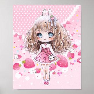 Niedliches chibi Mädchen mit kawaii Erdbeeren Poster