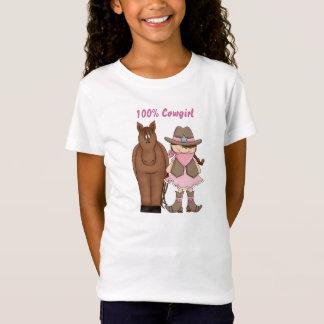 Niedliches Cowgirl 100% mit Brown-Haar und T-Shirt
