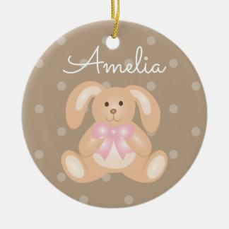 Niedliches Cuddly rosa Band-Häschen-Kaninchen Rundes Keramik Ornament