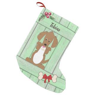 Niedliches Dackel-Hundegrün-hölzernes Kleiner Weihnachtsstrumpf