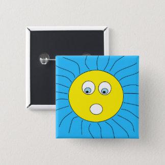 Niedliches erschrockenes Sun-Entwurfs-Blau Quadratischer Button 5,1 Cm