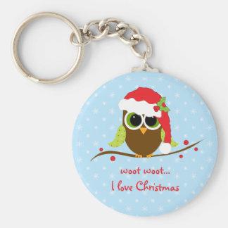 Niedliches Eulen-Weihnachtsschlüsselkette Schlüsselanhänger