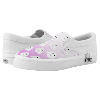 Niedliches Eulenmuster-Pastellrosa-Weiß ombre Slip-On Sneaker