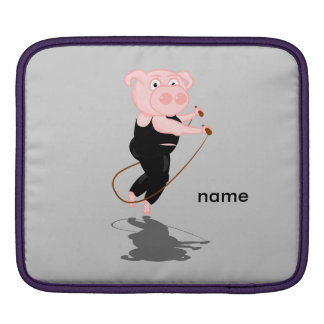 Niedliches fettes Schwein-Überspringen iPad Sleeves